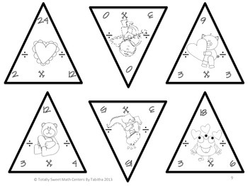 Valentine Triangles- Multiplication and Division Edition Facts 0-12