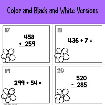 Triple Digit Addition & Subtraction With Regrouping Task Cards with QR Codes