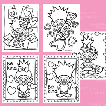 Valentine Trolls Coloring Book Pages Girl Boy Troll Mailbox Color Page