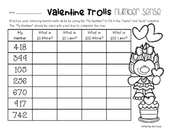Valentine's Trolls Number Sense: 10 More, 10 Less, 100 More, 100 Less