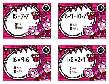 Valentine True or False Equations Task Cards with/without QR Codes
