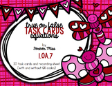 Valentine True or False Equations Task Cards with/without