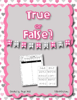 Valentine True or False Math Sentence Sorting