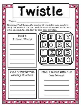 Valentine Twistle- Critical Thinking Word Game