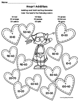 Valentine Two-Digit Addition and Subtraction Practice (Differentiated 5 ways)