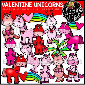 Valentine Unicorns Big Bundle {Educlips Clipart}
