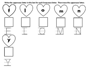 Valentine Uppercase and Lowercase Letter Writing