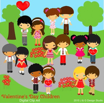 Valentine Valentine's Day Kids Series 2, Children Digital Clipart
