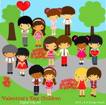 Valentine Valentine's Day Kids Series 2, Children Digital Clipart