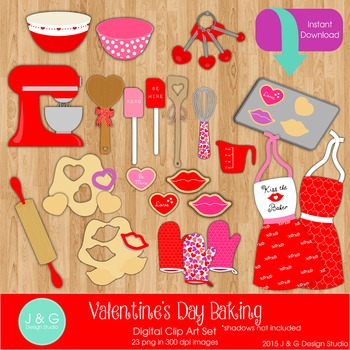 Valentine Valentine's Day Baking Digital Clipart