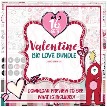 Valentines Clipart Bundle: Valentine Digital Papers, Pink, Purple and red