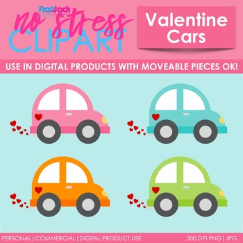 Valentine Vehicles Clip Art (Digital Use Ok!)