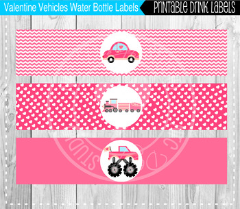 Valentine Vehicles Water Bottle Labels - Classroom Decoration, Party Printable