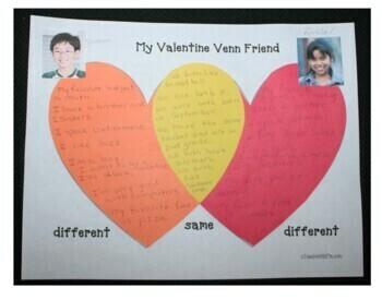 Valentine Venn Friends: Writing Prompt Craftivity