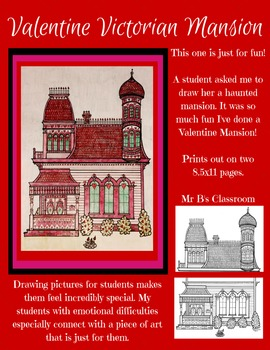 Valentine Victorian Mansion! A Beautiful Complex Coloring Printable Decoration