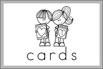 Valentine Vocabulary Word Wall Cards (set of 17) - Black & White Version