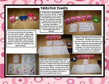 Valentine Vowels: CVC Words, Medial Vowel Sounds, Center & Printables