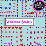 Valentine Watercolor Border Clip Art