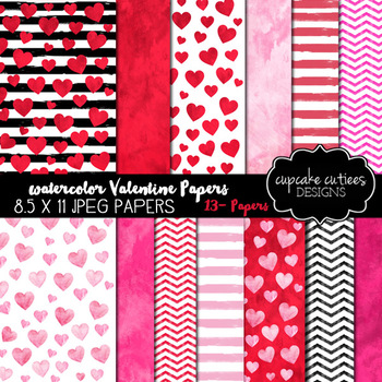 Valentine Watercolor Digital Paper Pack - 8.5 x 11 JPEG