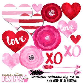 Valentine Watercolor hearts and Love Digital Clip Art Set