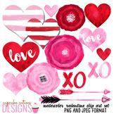 Valentine Watercolor hearts and Love Digital Clip Art Set