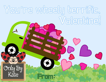 Valentine Wheelys, Valentine's Day Cards, Print Your Own
