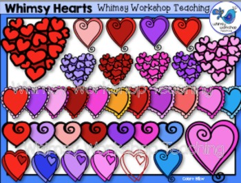 Valentine Whimsical Hearts Clip Art - Whimsy Workshop Teaching