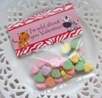 Valentine Wild Animal Class Large Treat Bag Toppers
