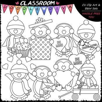 Valentine Winter Penguins Clip Art - Valentine's Day Clip Art & B&W Set