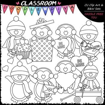 Valentine Winter Penguins - Clip Art & B&W Set