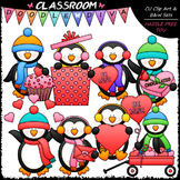 Valentine Winter Penguins - Clip Art & B&W Set