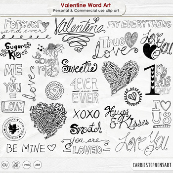 Valentine Word Art, Digital Stamps, True Love Quotes, WordArt Titles