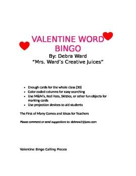 Valentine Word Bingo