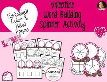 Valentine Word Building EDITABLE Activity