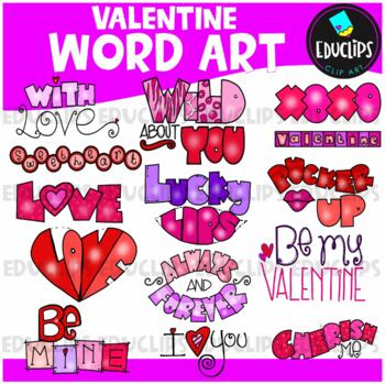 Valentine Word Clip Art Bundle {Educlips Clipart}