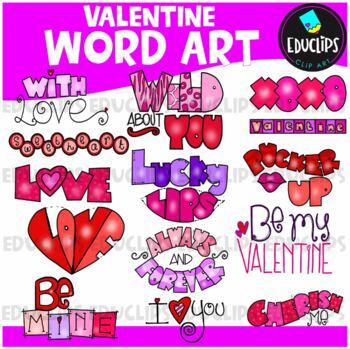 Valentine Word Clip Art Bundle