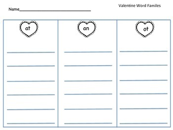 Valentine Word Families