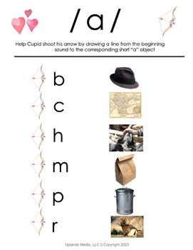 Valentine Short Vowel Word Matching Activity