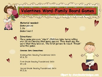 Valentine Word-Family Board Games