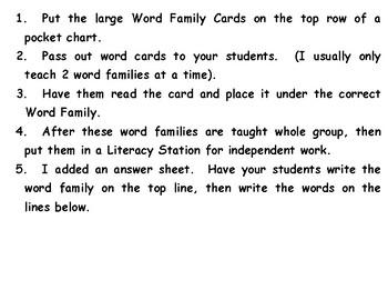 Valentine-Word Family Sort-et-ad-ug-ag-og-it--with answer sheet