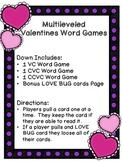 Valentine Word Games - VC, CVC, CCVC