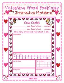 Valentine Addition Word Problems          7 Interactive Problems