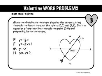 Valentine Word Problems - Math Mixer Activity - High School
