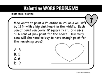 Valentine Word Problems - Math Mixer Activity - Middle School