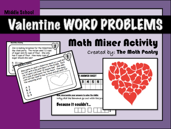 Valentine Word Problems - Math Mixer Activity - Middle School