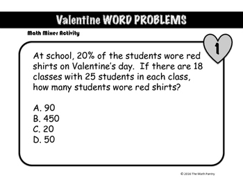 Valentine Word Problems - Math Mixer Activity - Upper Elementary