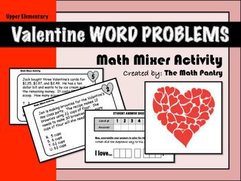 Valentine Word Problems - Math Mixer Activity - Upper Elementary