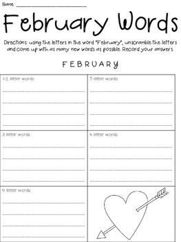 Valentine Word Scrambles