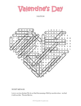 Free Valentine's Day Word Search Puzzle
