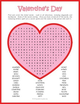Free Valentine S Day Word Search Puzzle By Puzzles To Print Tpt